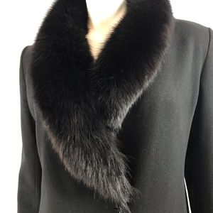 Marvin Richards Fox Fur Collar Wool Maxi Coat